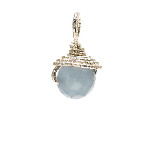angelite round gem, sterling silver