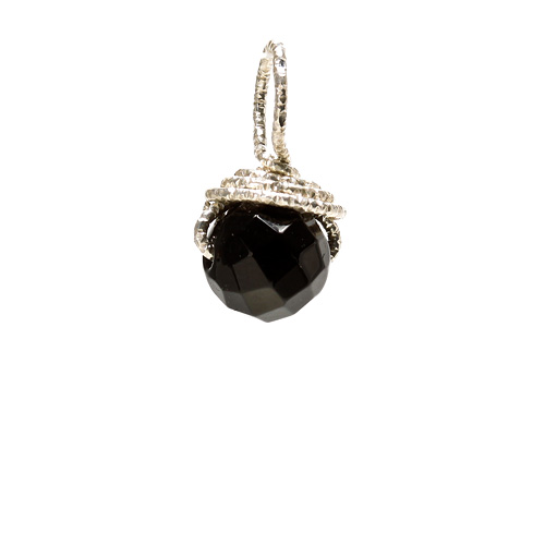 black onyx round gem, sterling silver