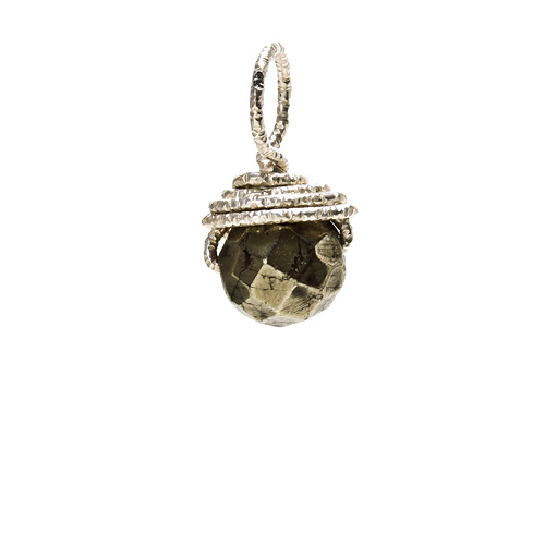 pyrite round gem, sterling silver