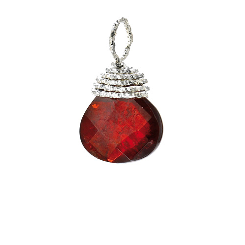 garnet briolette gem, sterling silver