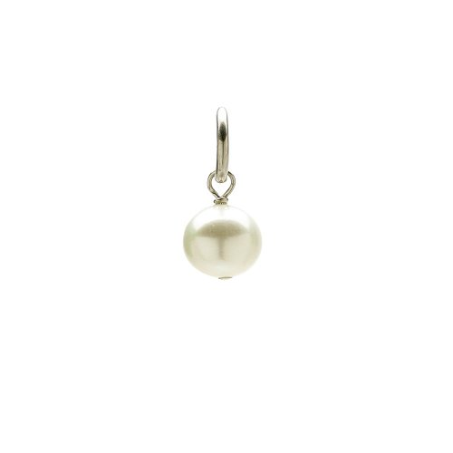 white pearl charm, sterling silver