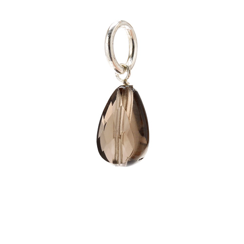 smokey quartz teardrop gem, sterling silver