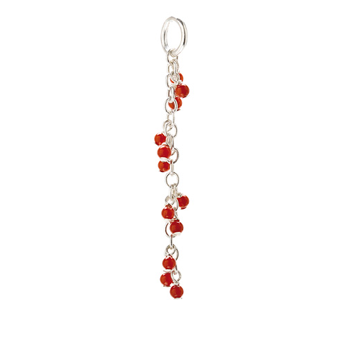 red coral cascading gems, sterling silver
