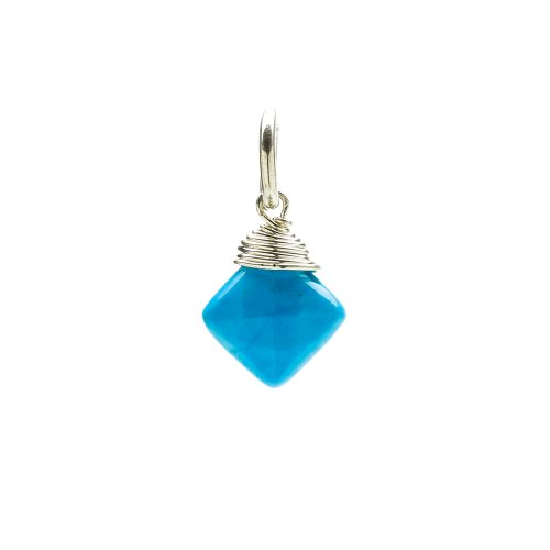 turquoise gem faceted diamond cut, sterling silver