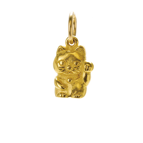 lucky cat charm, gold dipped