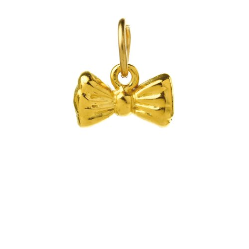 ribbon bow charm, gold dipped