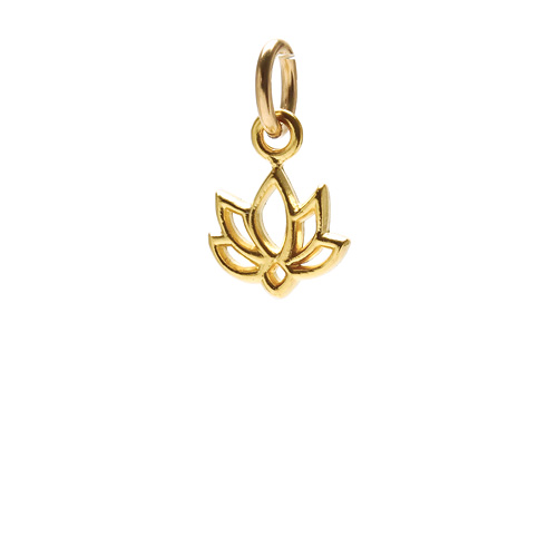 happy lotus charm, gold dipped