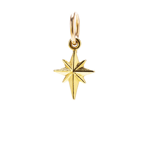 north star charm, gold dipped