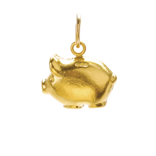 piggy bank charm, gold dipped