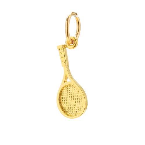 tennis racket charm, gold dipped