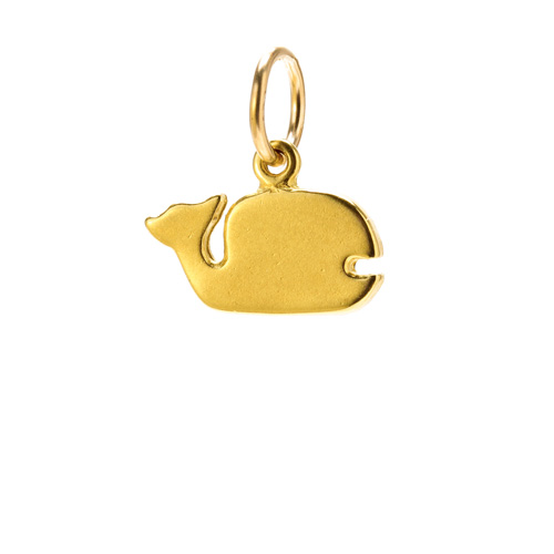 whale charm, gold dipped