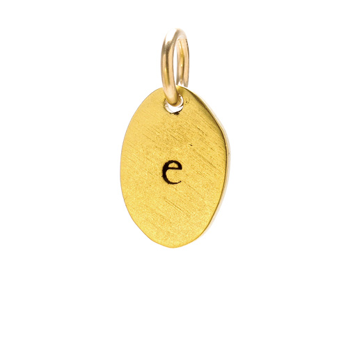 """E"" charm, gold dipped"