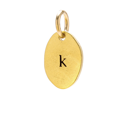 """K"" charm, gold dipped"