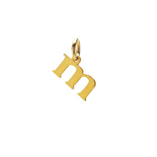 open m charm, gold dipped