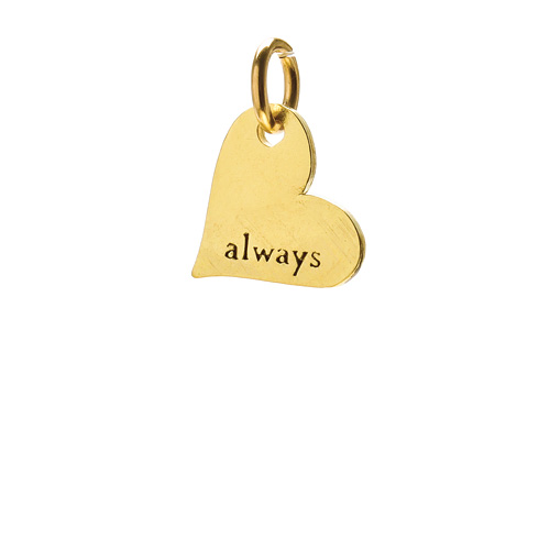 """always"" heart charm, gold dipped"
