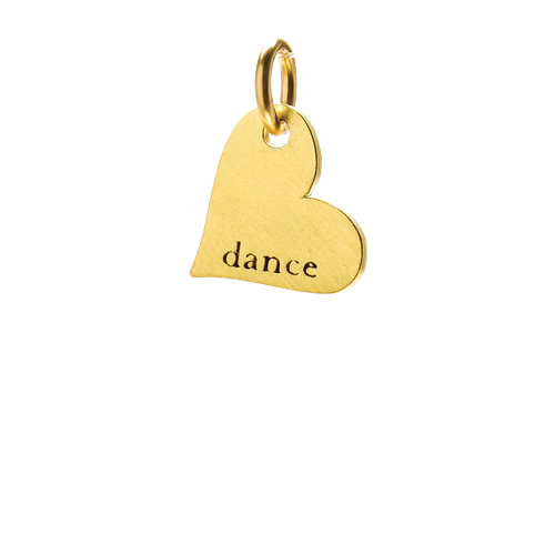 """dance"" heart charm, gold dipped"