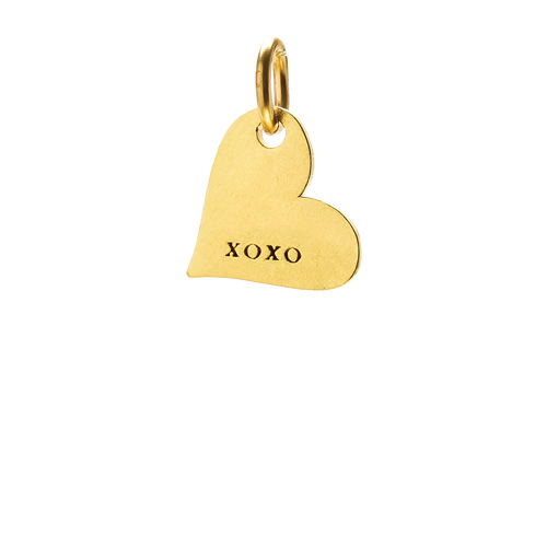 """xoxo"" heart charm, gold dipped"