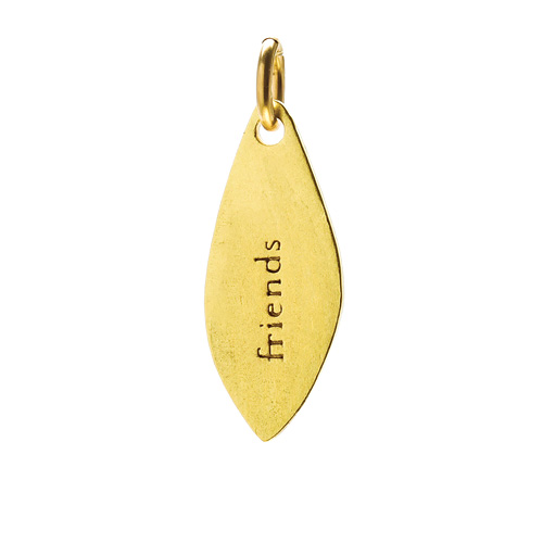 """friends"" petal charm, gold dipped"