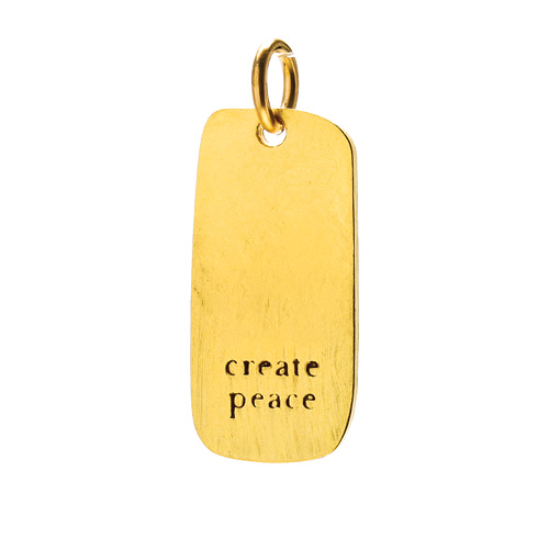 """create peace"" charm, gold dipped"