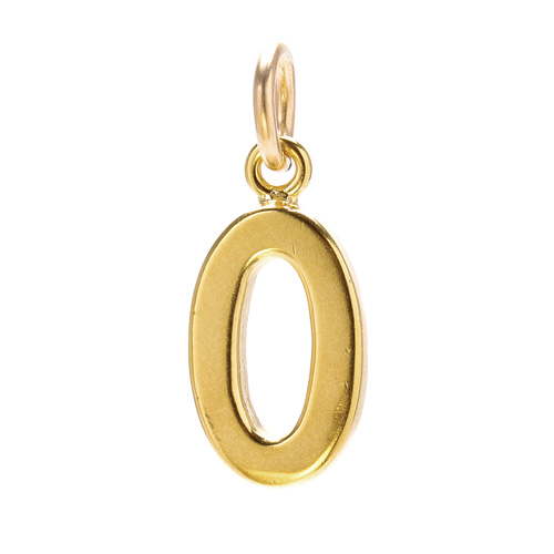 """0"" charm, gold dipped"