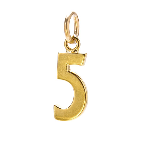 "number ""5"" charm, gold dipped"