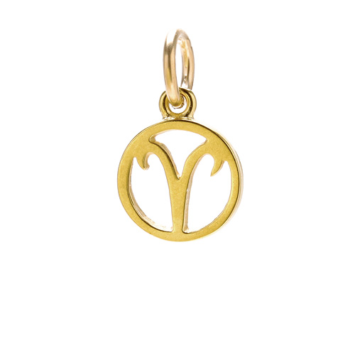 "zodiac ""aries"" charm, gold dipped"