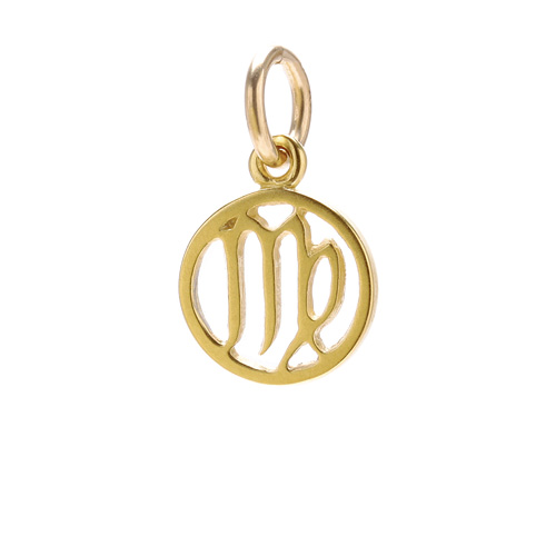 zodiac &quot;virgo&quot; charm, gold dipped