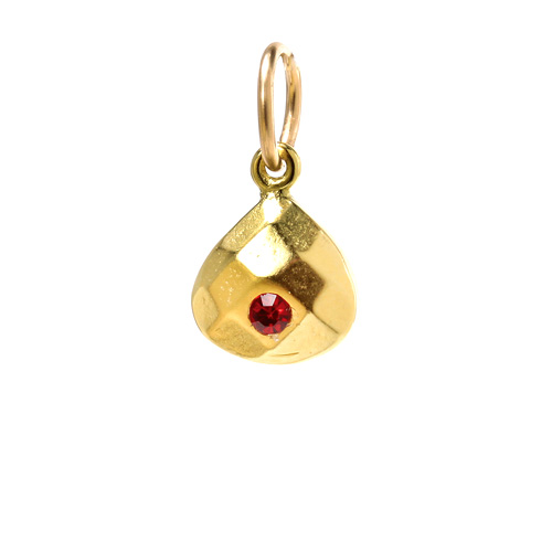 january birthstone charm, gold dipped