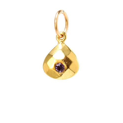 february birthstone charm, gold dipped