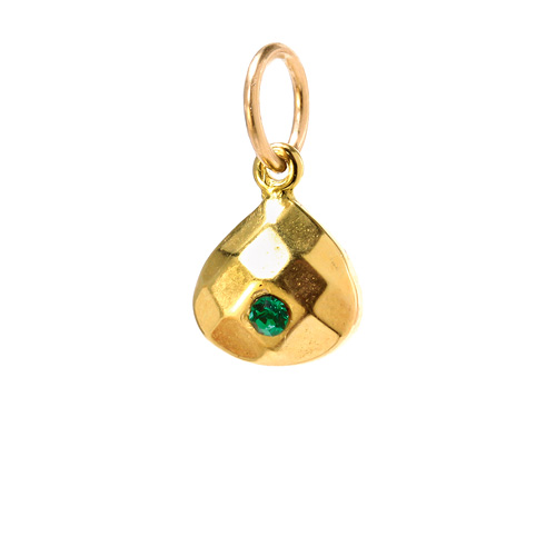may birthstone charm, gold dipped