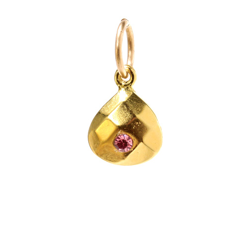 october birthstone charm, gold dipped