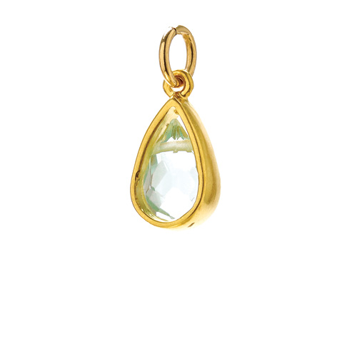 blue quartz pendant gem, gold dipped