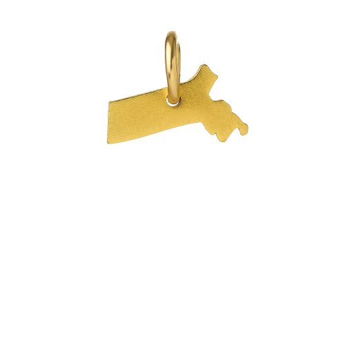 massachusetts charm, gold dipped
