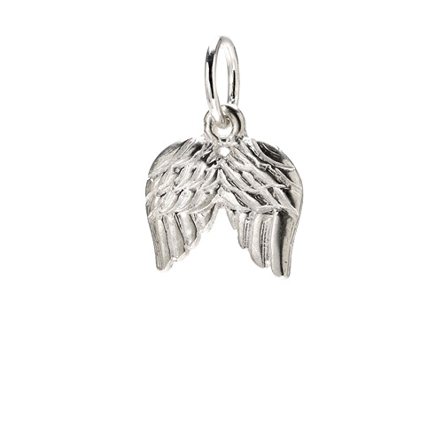angel wings charm, sterling silver