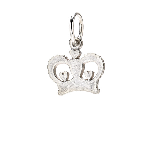 heart crown charm, sterling silver