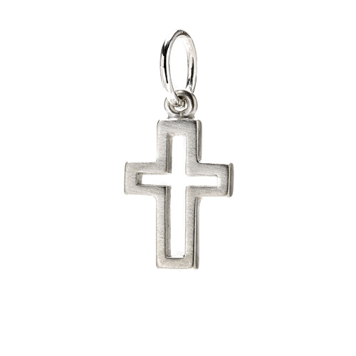 modern cross charm, sterling silver