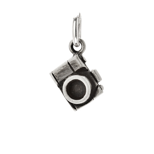 camera charm, sterling silver