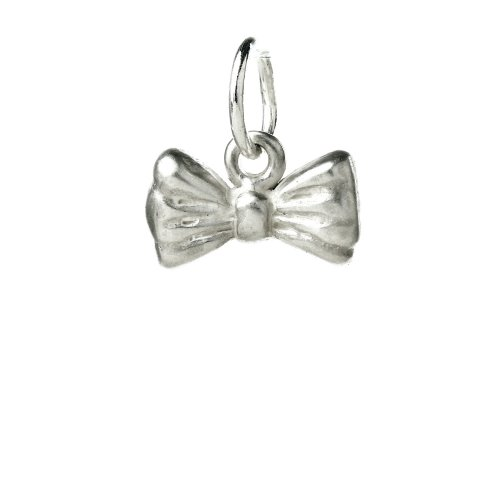 ribbon bow charm, sterling silver