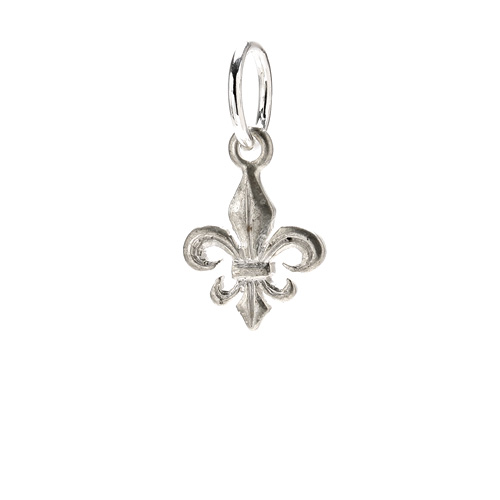 fleur de lis charm, sterling silver