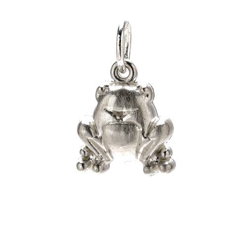 frog charm, sterling silver