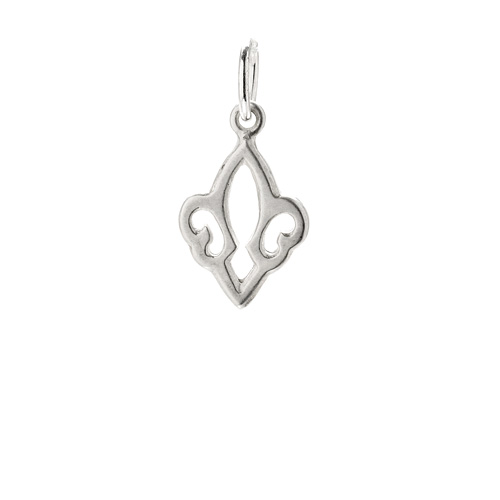open fleur de lis charm, sterling silver
