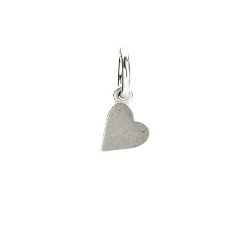 sideways heart charm, sterling silver