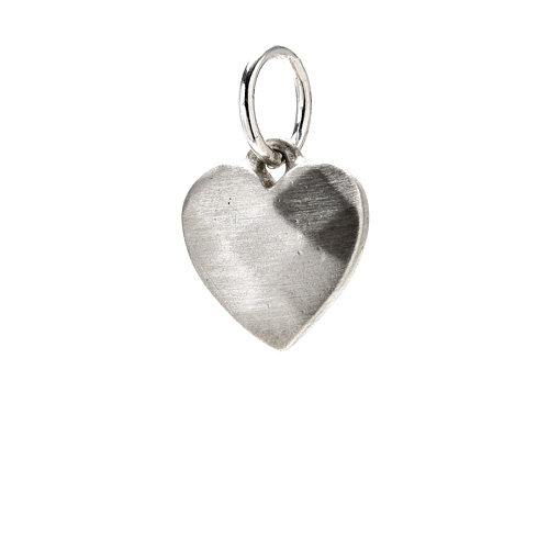 faceted heart charm, sterling silver