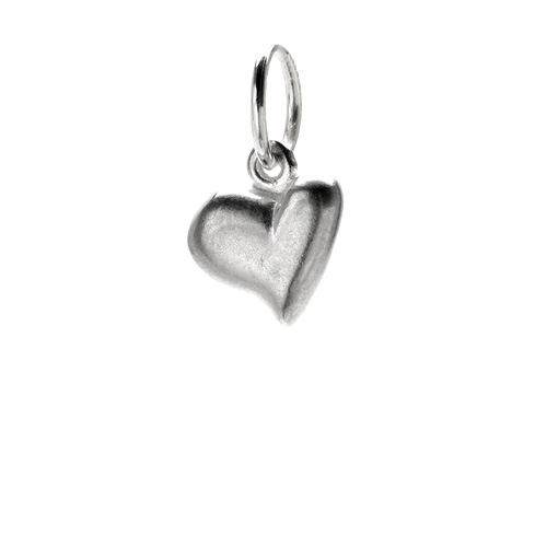 full heart charm, sterling silver