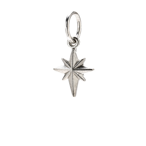 north star charm, sterling silver