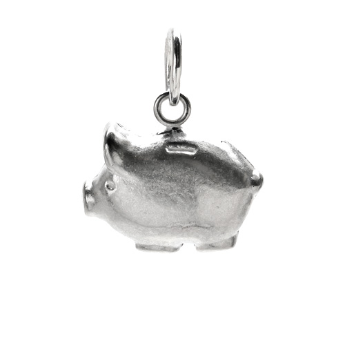 piggy bank charm, sterling silver