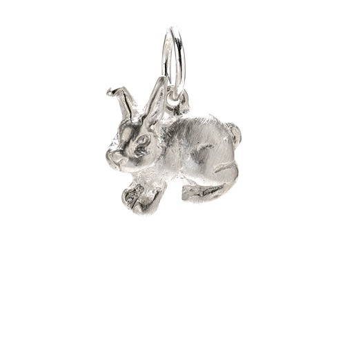 rabbit charm, sterling silver