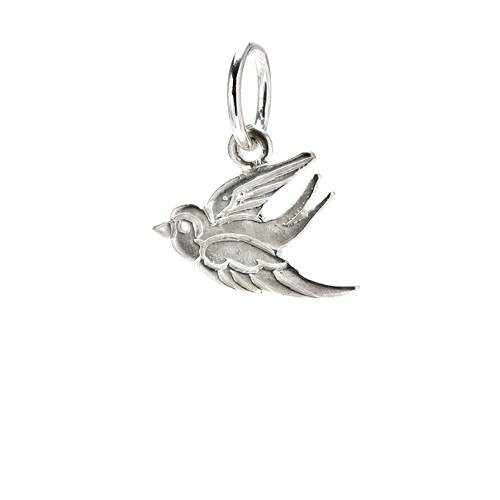 robin charm, sterling silver