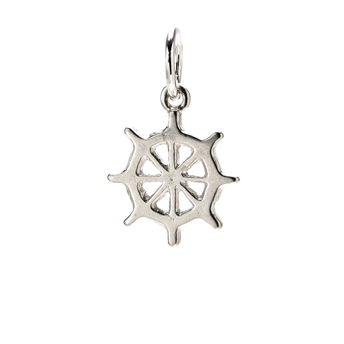 ship wheel charm, sterling silver