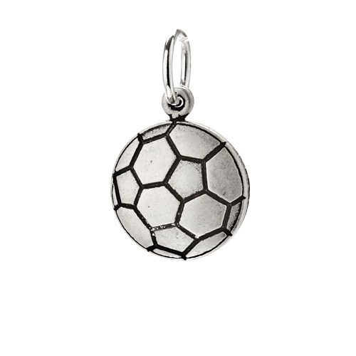 soccer ball charm, sterling silver